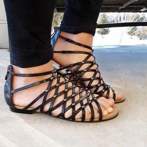 Marc Fisher Black Studded Gladiator Sandals 6 M